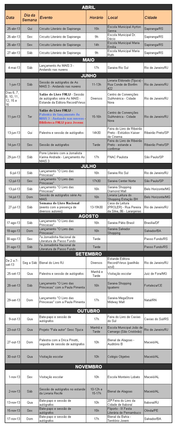 agenda completa 2013